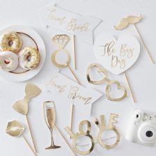 Wedding gold photo props Σετ των 10